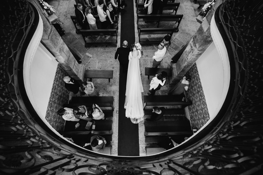 wedding photography bride entrance from above