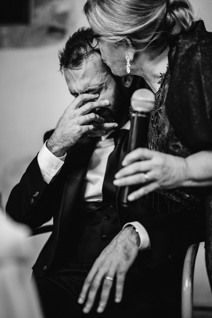wedding photography mother speech and crying groom
