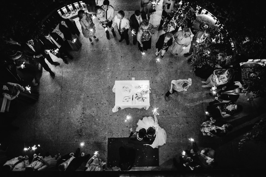 wedding photography cake cutting from above