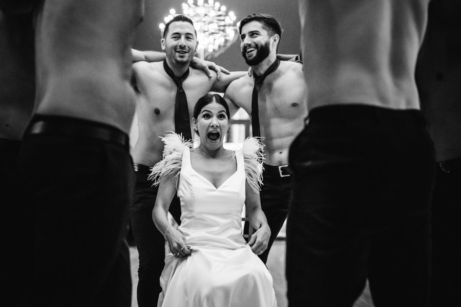 wedding photography groom and best men striptease